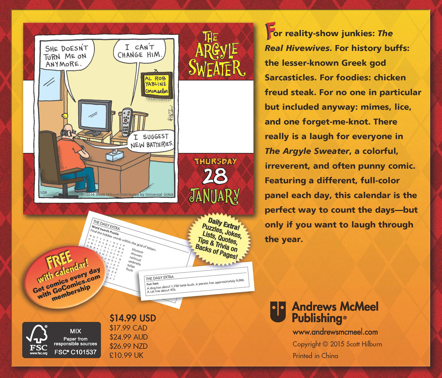 The Argyle Sweater Page-A-Day Calendar 2016 back 9781449464943