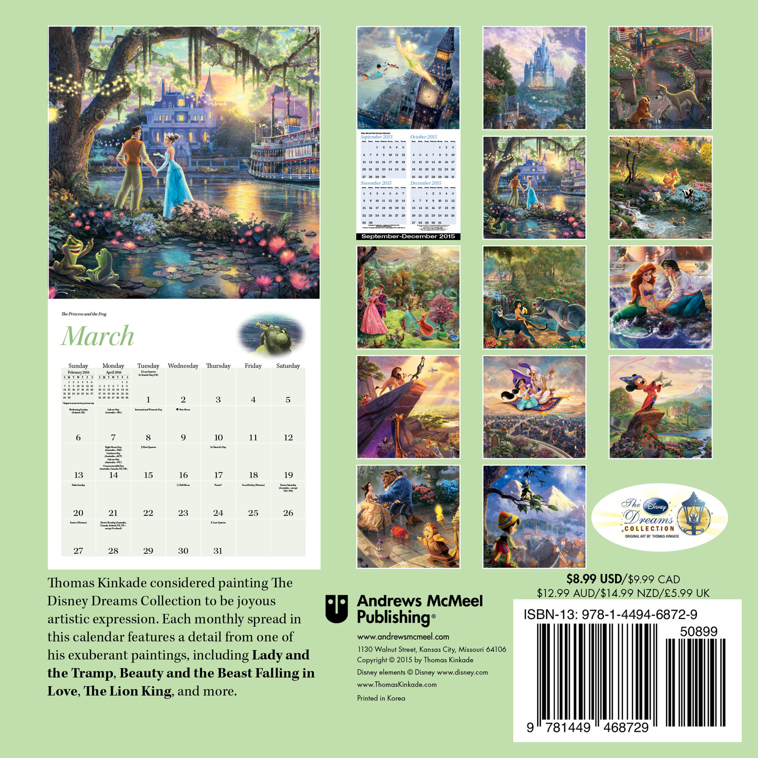 Thomas Kinkade: The Disney Dreams Collection Mini Wall Calendar 2016 back 9781449468729