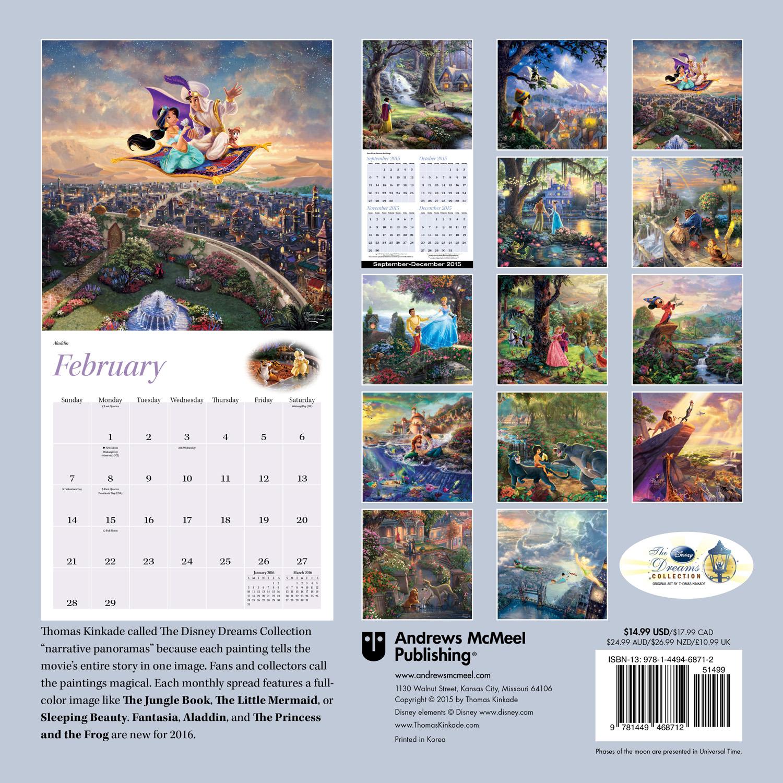 Thomas Kinkade: The Disney Dreams Collection Wall Calendar 2016 back 9781449468712