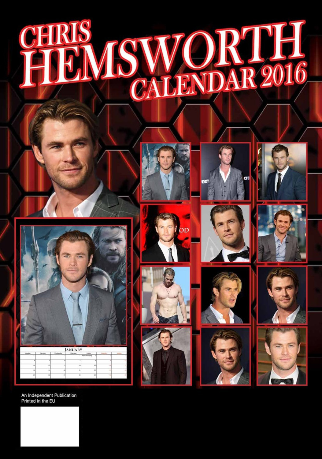 Chris Hemsworth Celebrity Wall Calendar 2016  back 9788898521661