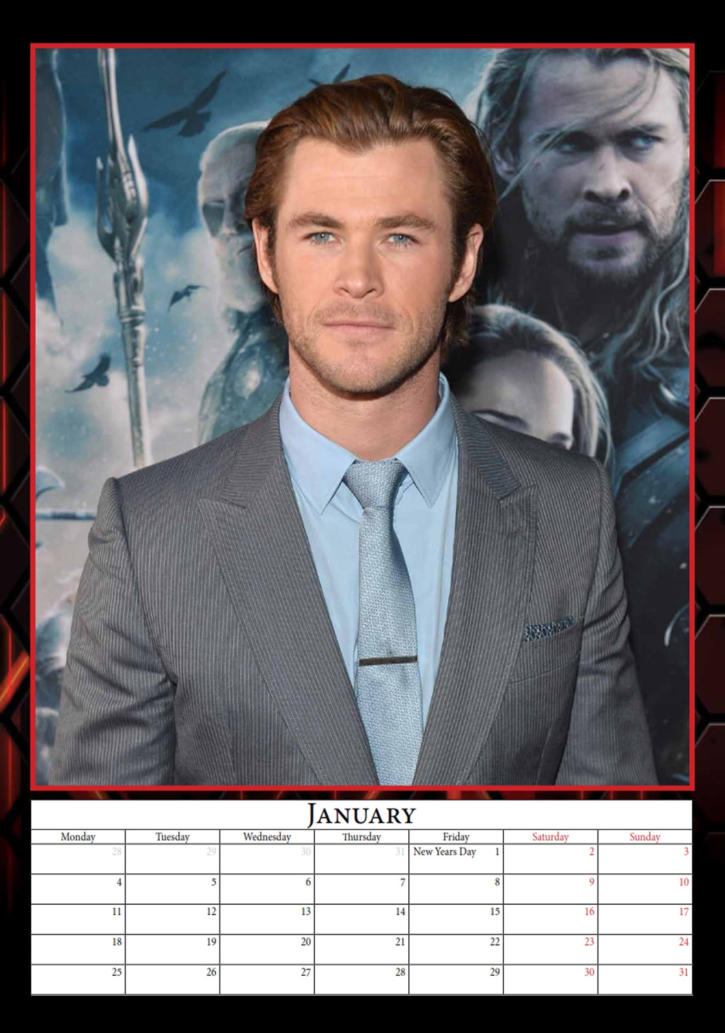 Chris Hemsworth Celebrity Wall Calendar 2016  inside 9788898521661