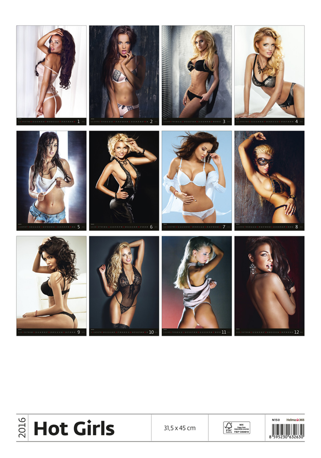 Hot Girls Wall Calendar 2016 back 8595230632630