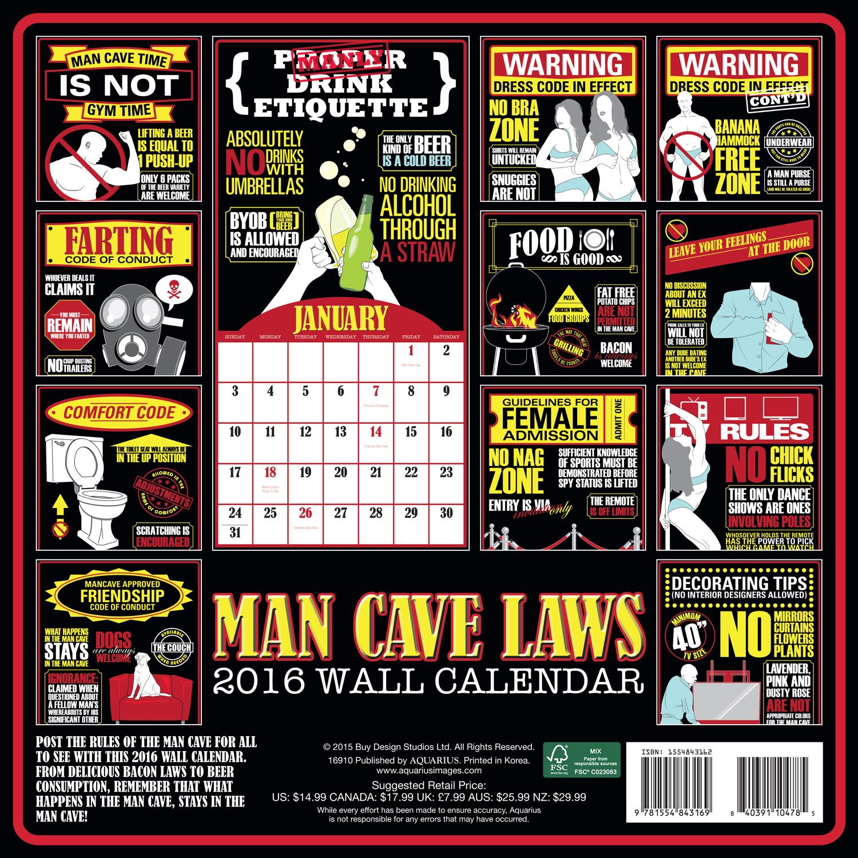 Man Cave Wall Calendar 2016 back 9781554843169