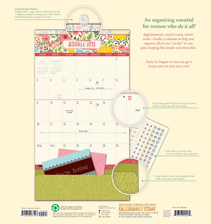 Bold Blossoms Do It All Wall Calendar 2016 back 9781622267293
