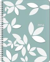 White Leaves Large Flexi Planner Calendar 2016