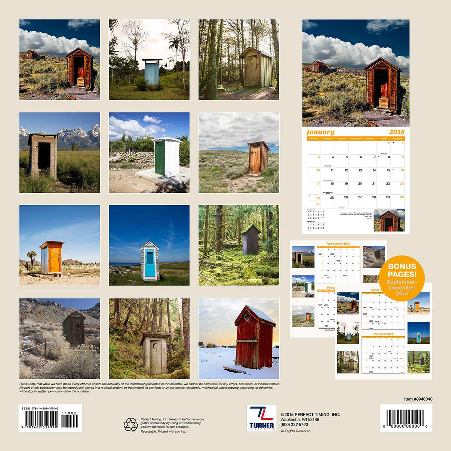 Outhouses Wall Calendar 2016 back 9781469333151