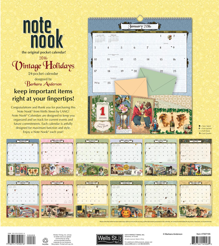 Vintage Holidays Note Nook Calendar 2016 back 9780741250018