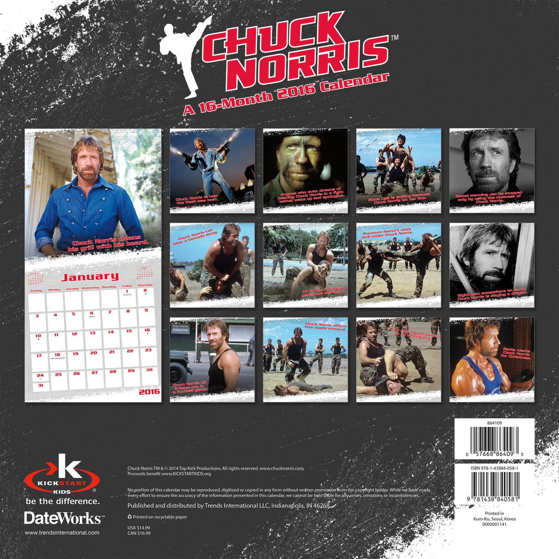 Chuck Norris Wall Calendar 2016 back 9781438840581