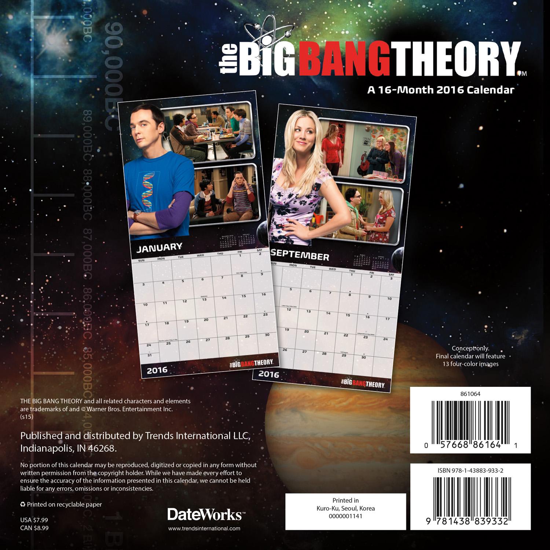 The Big Bang Theory Mini Wall Calendars 2016 back 9781438839332