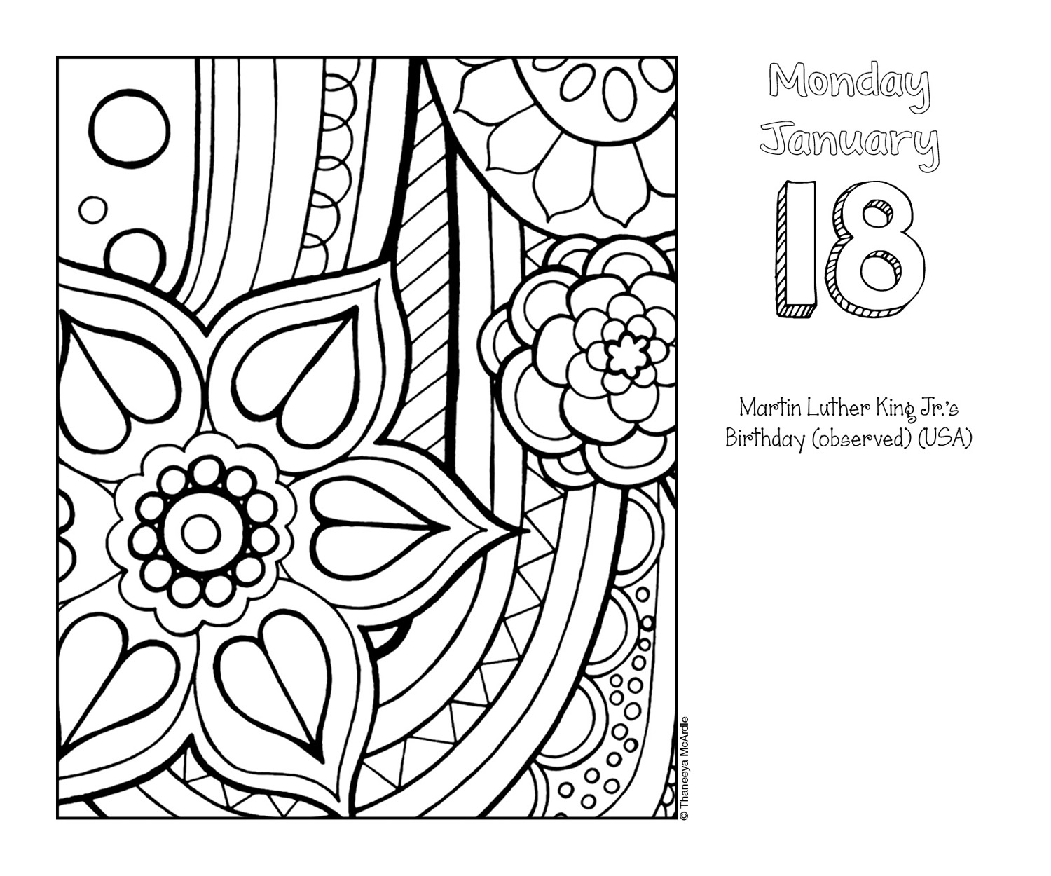 page a day calendar coloring pages - photo #4