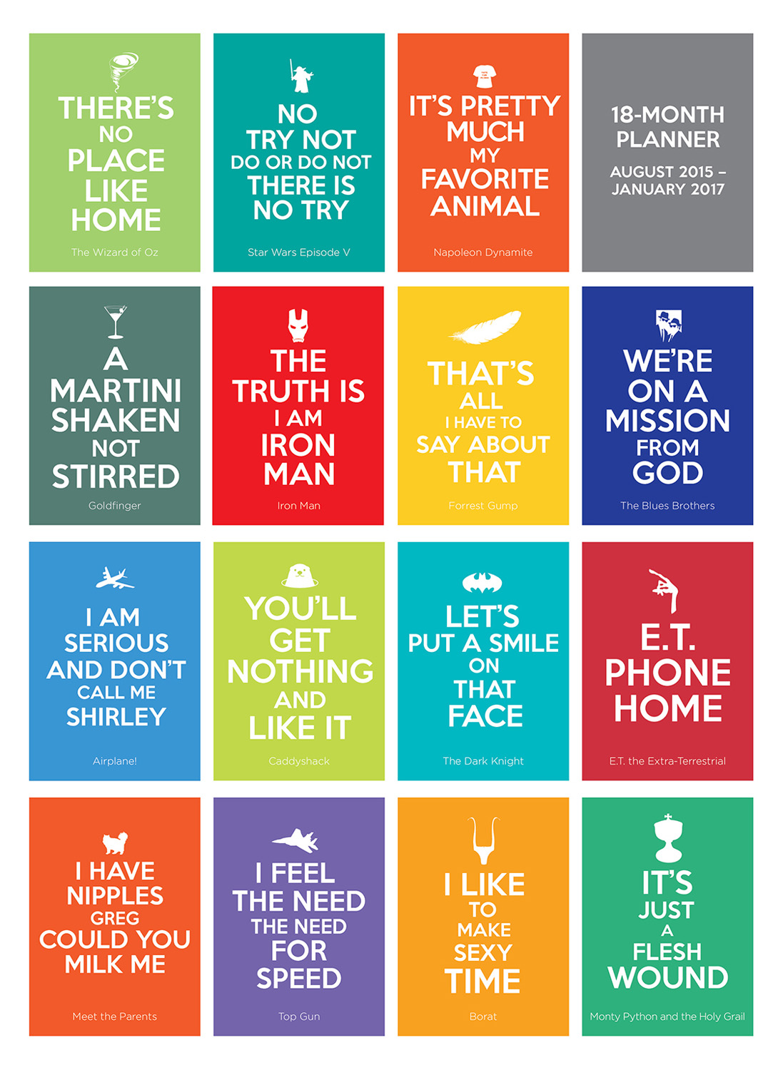 Calendar Quotes For Each Month 2018 : Keep calm quote movies planner calendar