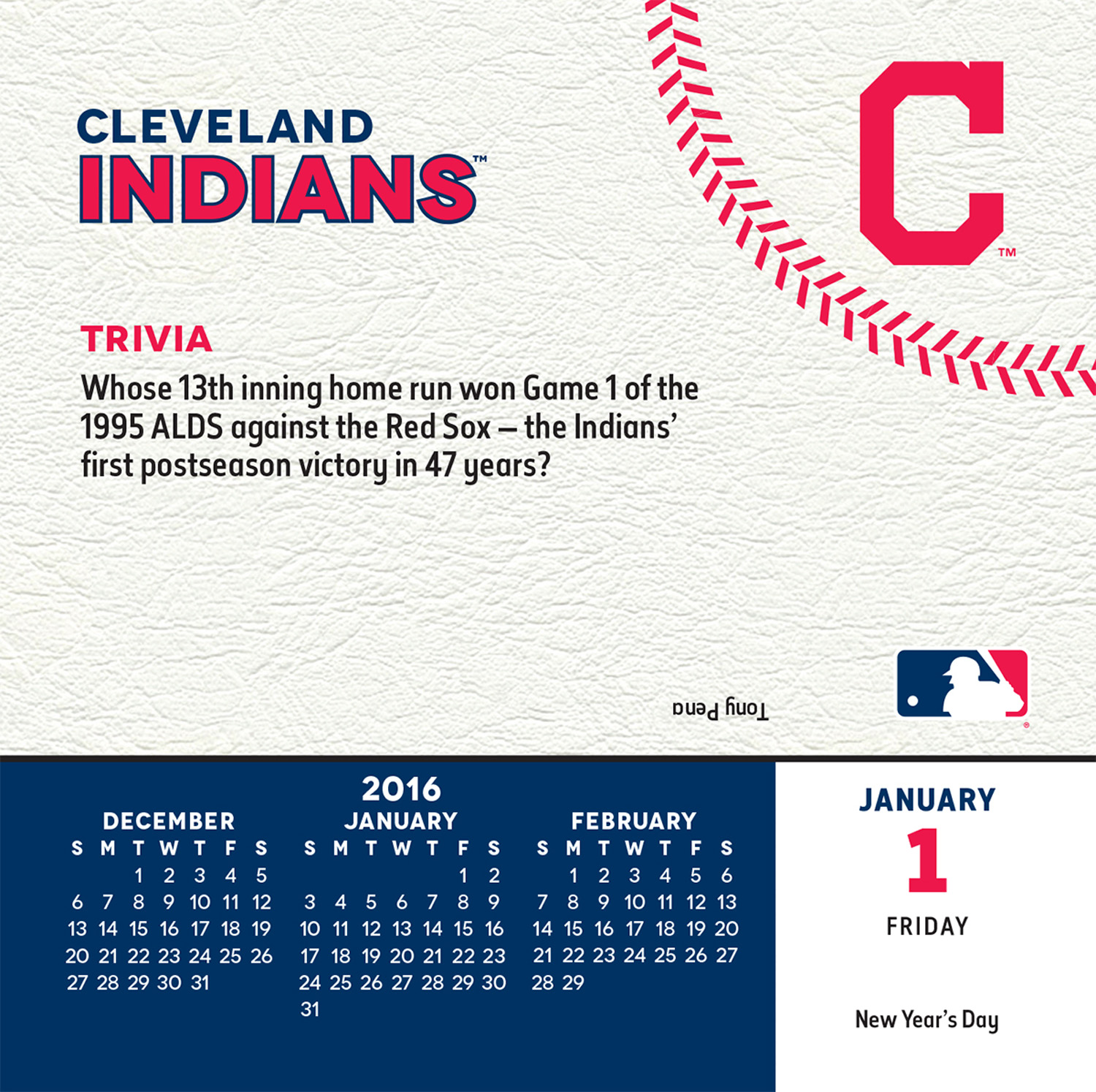 Cleveland Indians Page-A-Day Calendar 2016 inside 9781469328447